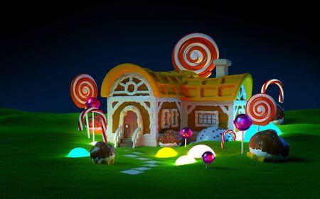 gingerbread house green field night Zdjęcie Seryjne