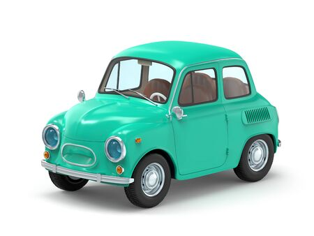 Small and cute cartoon bunchy retro car isolated on white background. 3d illustration