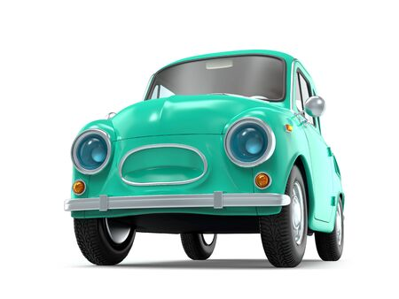 Small and cute cartoon bunchy retro car isolated on white background. 3d illustration Zdjęcie Seryjne - 137481570