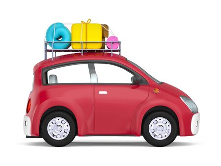 Small cute car with suitcases on roof rack, side view isolated on white. 3d illustration