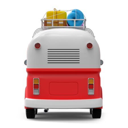 Cartoon retro travel van with roof rack and suitcases, back view, isolated on white. 3d illustration Zdjęcie Seryjne