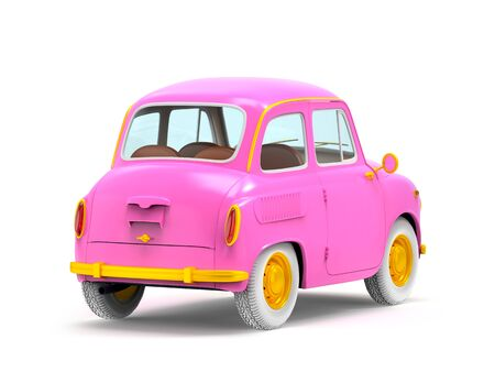 Small and cute cartoon bunchy retro car, back view, isolated on white background. 3d illustration