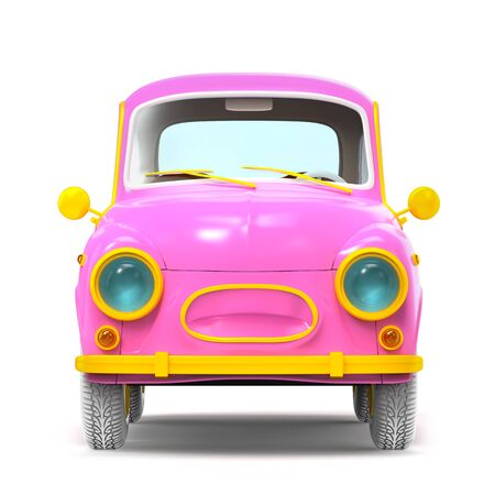 Small and cute cartoon bunchy retro car, front view, isolated on white background. 3d illustration Zdjęcie Seryjne