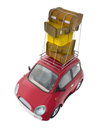 Small cute car with suitcases on roof rack isolated on white. 3d illustration