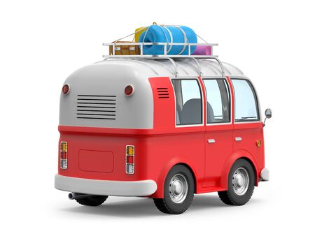 Cartoon retro travel van with roof rack and suitcases, back view, isolated on white. 3d illustration