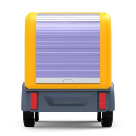 futuristic small delivery truck cartoon back Zdjęcie Seryjne