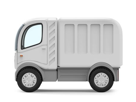 futuristic small delivery truck cartoon, side view, isolated on white. 3d illustration