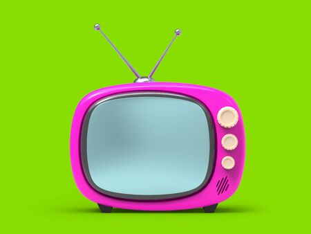 Little old tv in cartoon style, isolated on green. 3d illustration Zdjęcie Seryjne