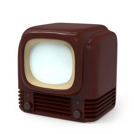 Vintage tv 1950, isolated on white. 3d illustration.