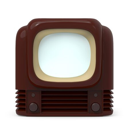 Vintage tv 1950, front view, isolated on white. 3d illustration.