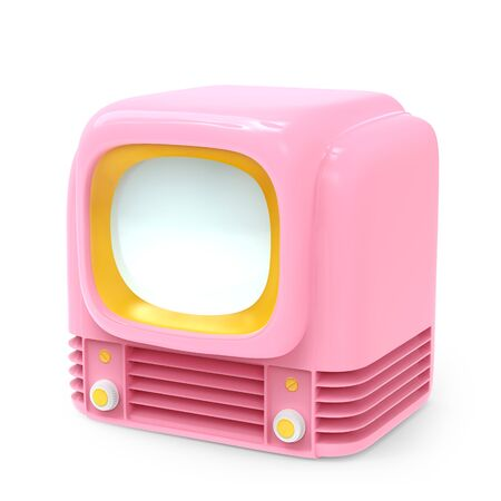 Vintage tv 1950, pink glamour style, isolated on white. 3d illustration.