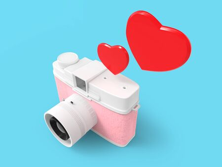Vintage cute photo camera with two heart shapes. 3d illustration.