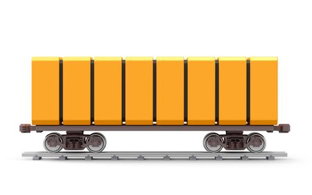Futuristic railroad freight car isolated on white, side view. 3d illustration.