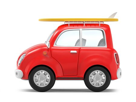 Small cute trip car with surfboard on roof rack, side view isolated on white. 3d illustration