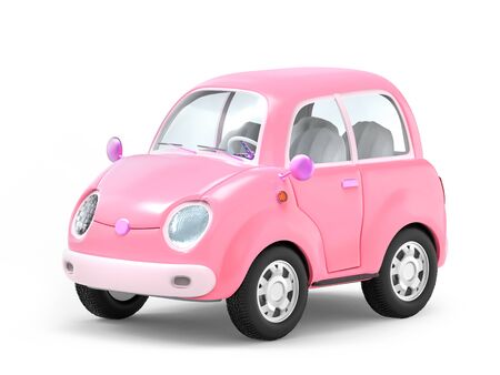 Pink small cute trip car isolated on white. 3d illustration Zdjęcie Seryjne