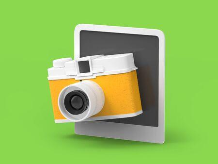 Vintage cute photo camera with photo frame on background. 3d illustration. Zdjęcie Seryjne