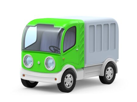 futuristic small delivery truck cartoon, isolated on white. 3d illustration Zdjęcie Seryjne