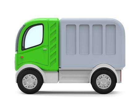 futuristic small delivery truck cartoon side Zdjęcie Seryjne