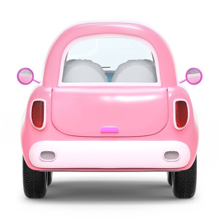 Pink small cute trip car, back view isolated on white. 3d illustration