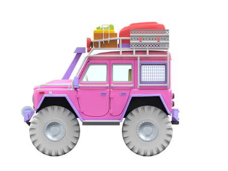 off-road SUV cartoon, side view, for desert sand adventure. 3d illustration