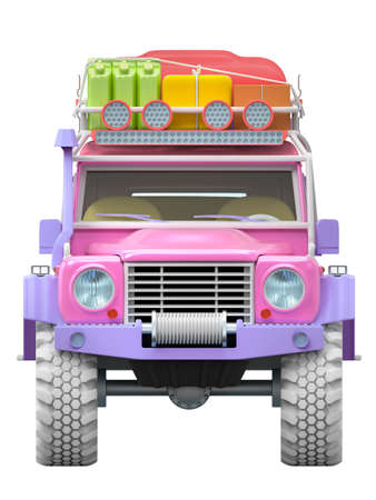 off-road SUV cartoon, front view, for desert sand adventure. 3d illustration