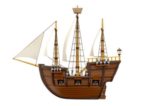 ship wooden ancient cartoon side