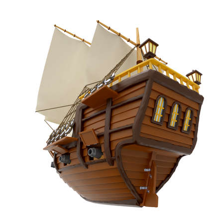 ship wooden ancient cartoon back Zdjęcie Seryjne