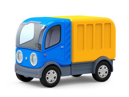 futuristic small delivery truck cartoon