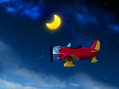 cartoon airplane in night sky