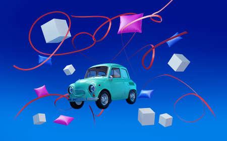 car hippie retro in dream world Zdjęcie Seryjne