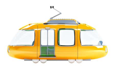 blue cartoon tram one wagon side view Zdjęcie Seryjne