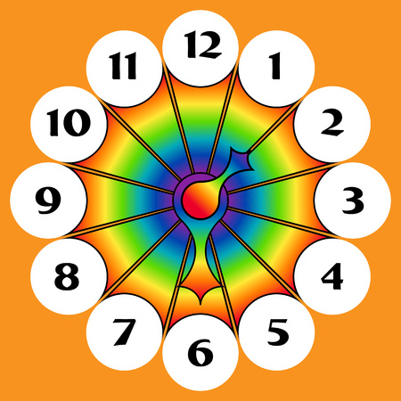 timezone: Rainbow Clock with arrows in different colors on orange background Illustration