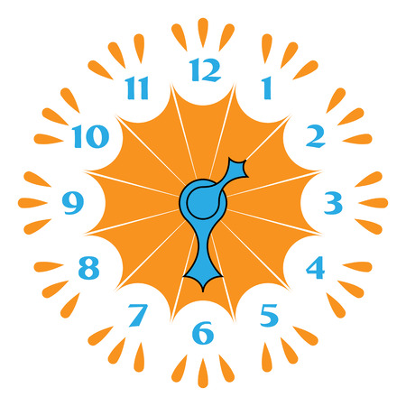 timezone: Funny clock with arrows in different colors on a white background