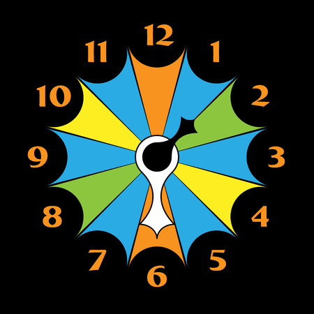 timezone: Funny clock with arrows in different colors on a black background Illustration