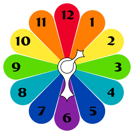 timezone: Rainbow Clock with arrows in different colors on a white background Illustration