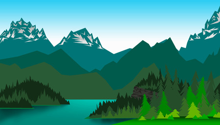 rockies: illustration of a landscape of a mountain valley