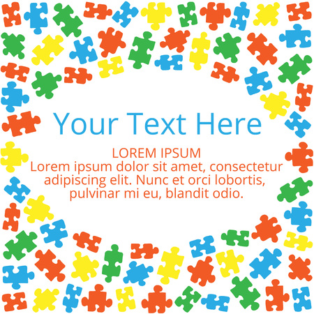 text box: Text box with a frame of color puzzles Illustration