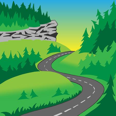 coniferous forest: El camino en las colinas cubiertas de bosques de coníferas