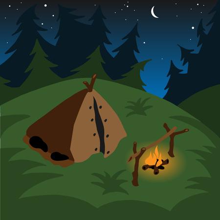 coniferous forest: fogata tienda por la noche entre los bosques de coníferas Vectores