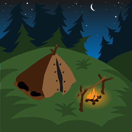 coniferous forest: Tent campfire at night among the coniferous forest