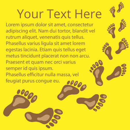 broun: Frame for text of footprints brown and yellow