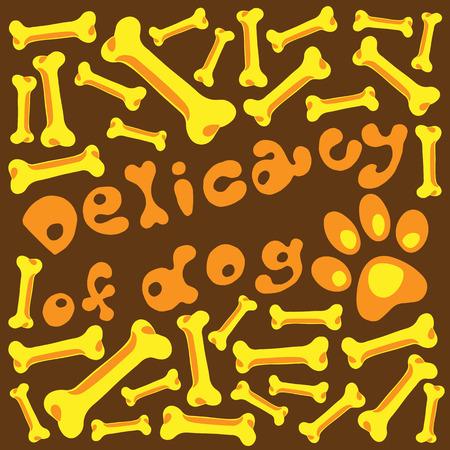 manjar: Ilustraci�n para la delicadeza de los huesos de perro marr�n naranja