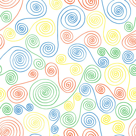 curlicues: Seamless pattern of colored curlicues on a white background
