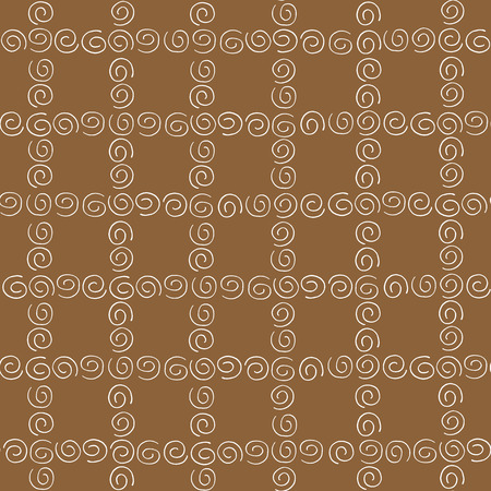 curlicues: Seamless pattern white curlicues on brown background