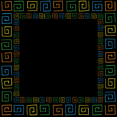 curlicues: Frame with colored curlicues on black background Illustration