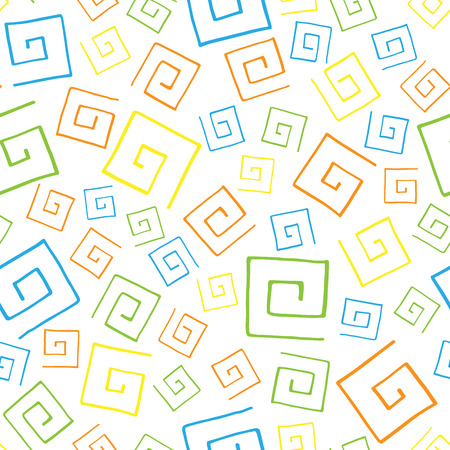 curlicues: Seamless pattern colorful curlicues on white background