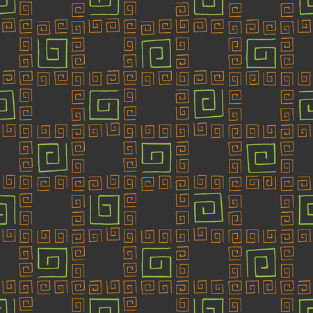 broun: Seamless pattern colorful curlicues on broun background
