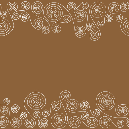 curlicues: Seamless horizontal pattern frame of curlicues on a brown background Illustration