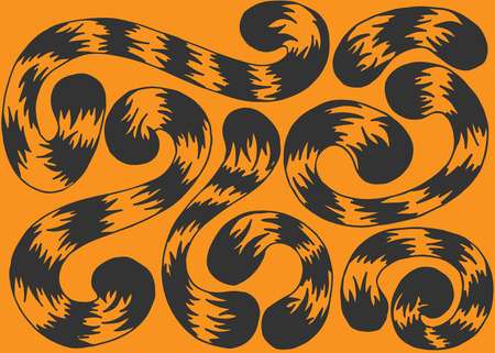 whorls: Illustration set of tails tiger on orange background