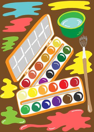 artist palette: Illustration of paint brush tools for the artist palette Illustration
